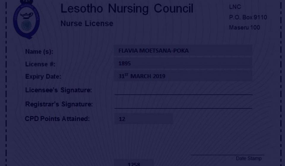 Lesotho Nursing Council Licence
